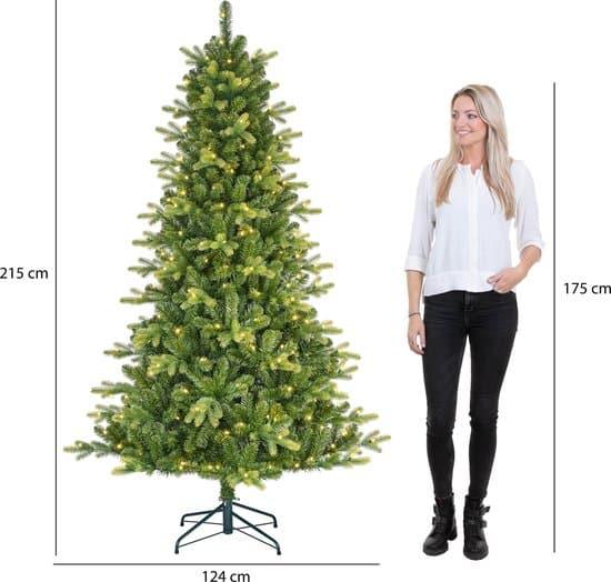 Black Box Trees Dayton Kunstkerstboom met LED Verlichting - H215 x Ø124cm - Groen - hoogte